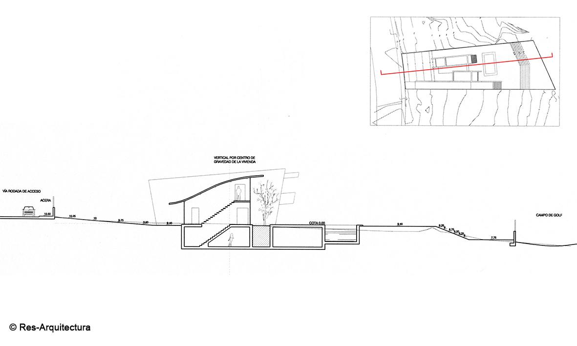 Casa Alma. Sección longitudinal