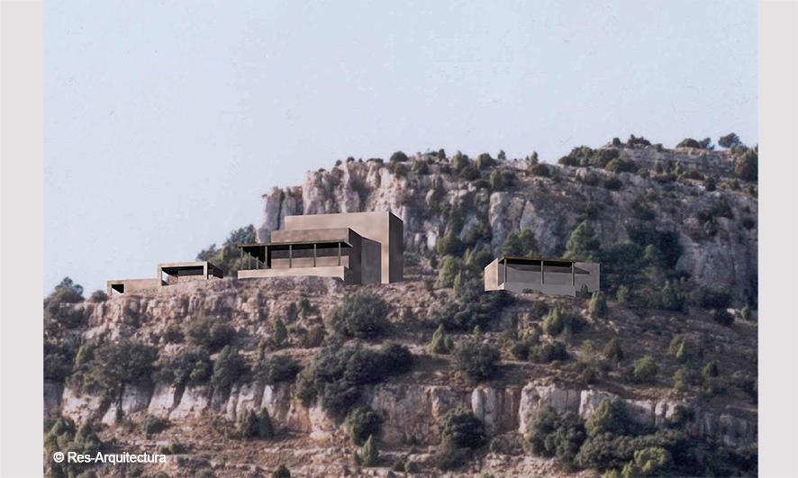 Casa de meditación budista. Vista general