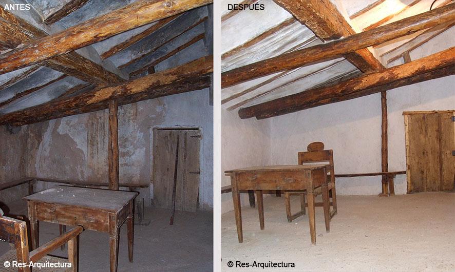 Estado antes y después de la obra de la barbería de la aldea de Sesga