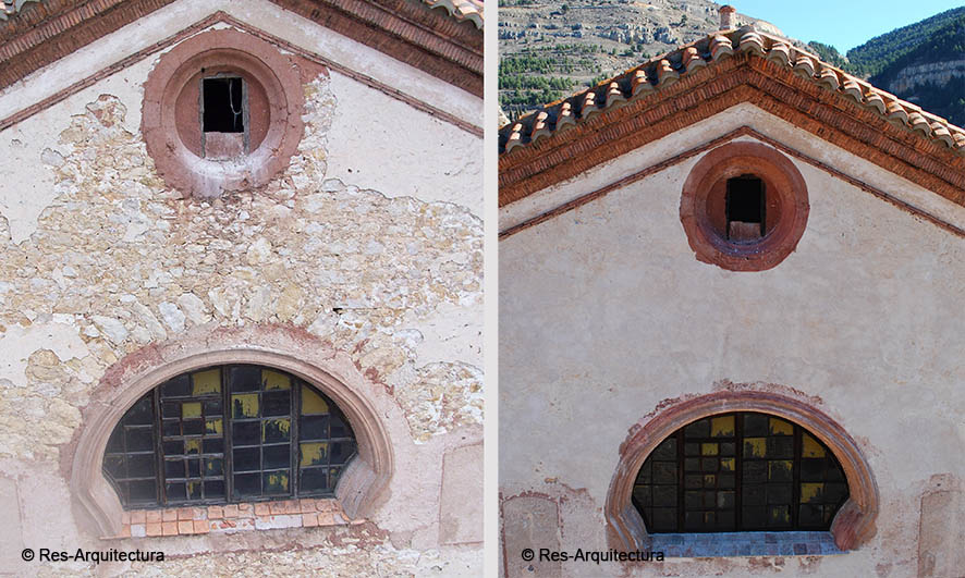 Iglesia de la Inmaculada de Linares de Mora. Detalle fachada oeste
