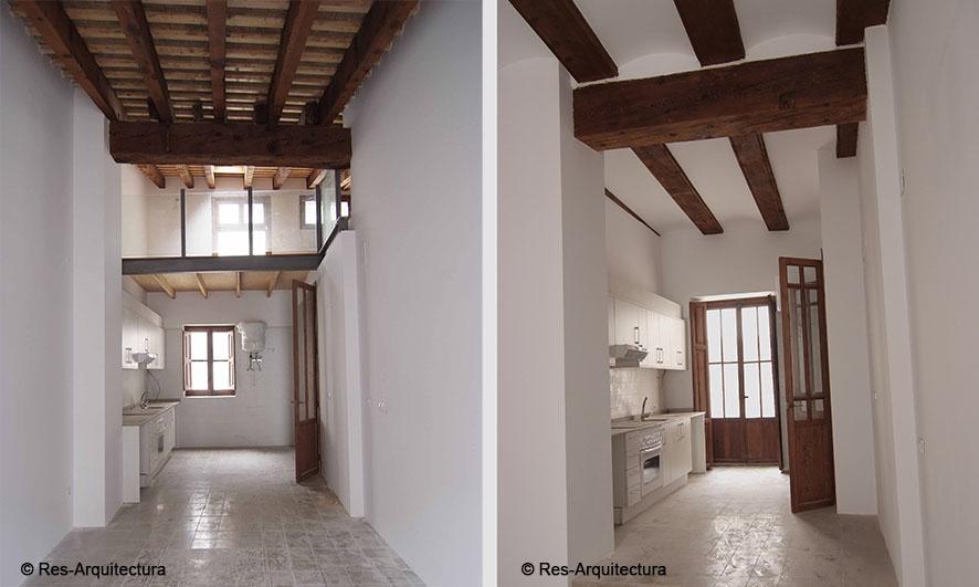 Maldonado 33. Interior de dos de las viviendas