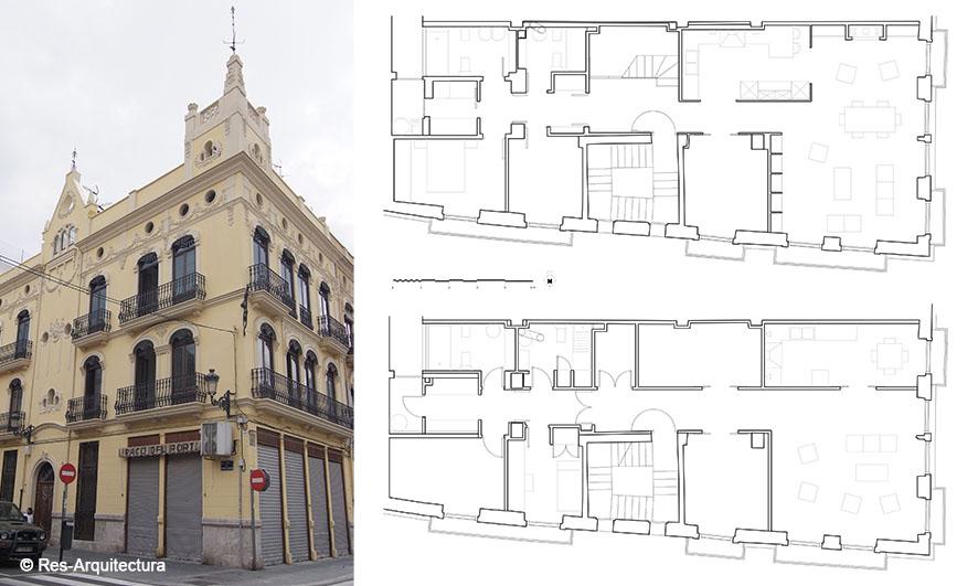 Edificio en El Grao. Fachada rehabilitada y plantas de proyecto