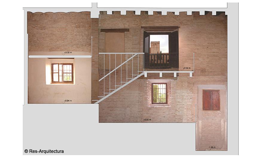 Sala lateral de entrada del Mexuar en la Alhambra. Sección longitudinal