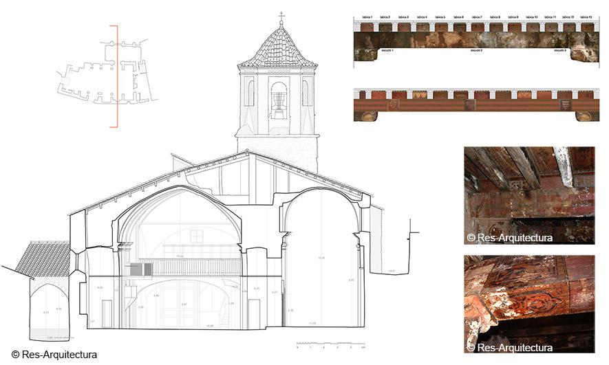 Iglesia de la Asunción de María de Vallibona. Sección y detalles de vigas de cubierta